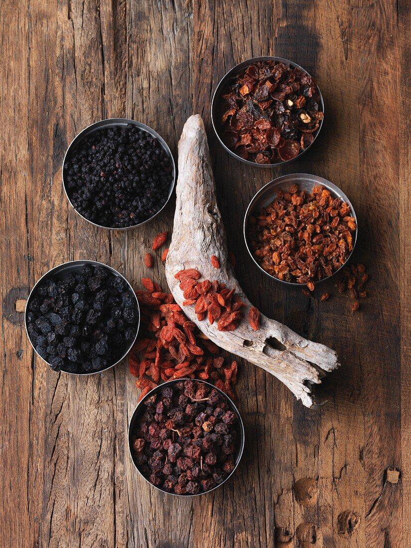 An arrangement of various dried wild fruits