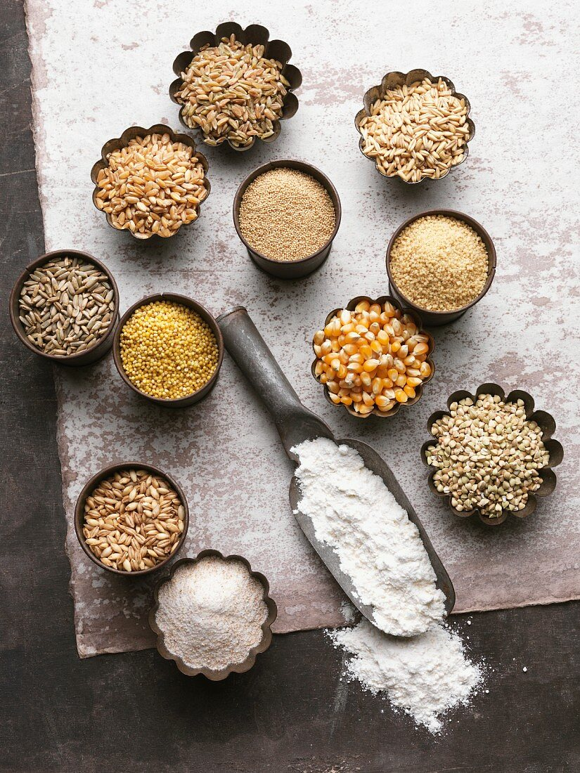 An arrangement of various grains and flour