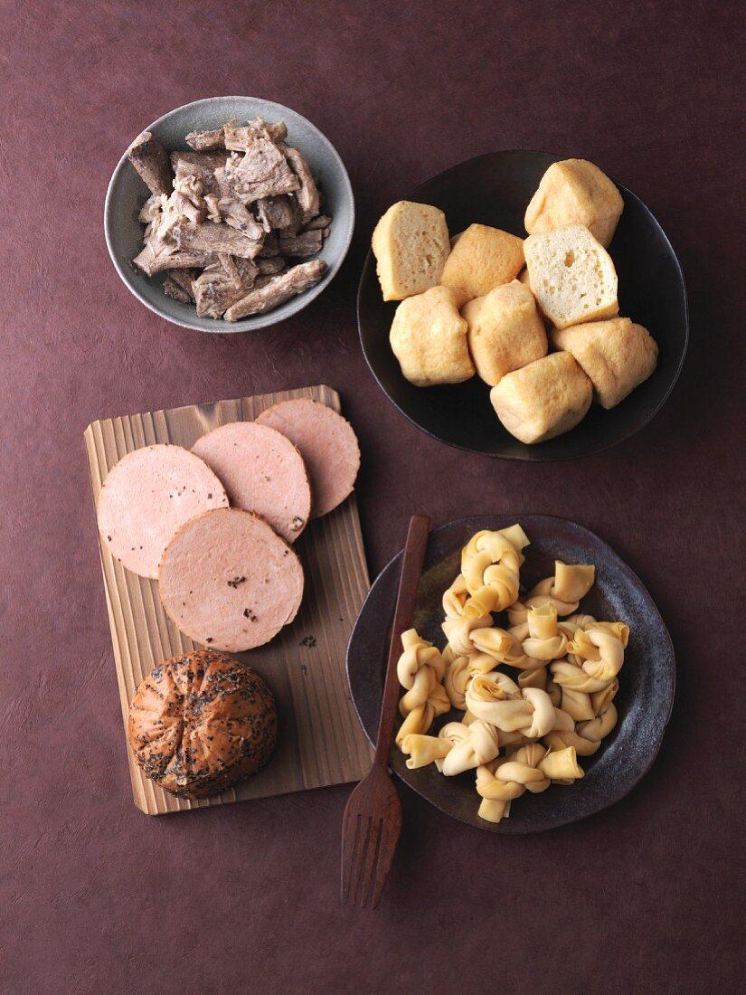 An arrangement of various seitan products