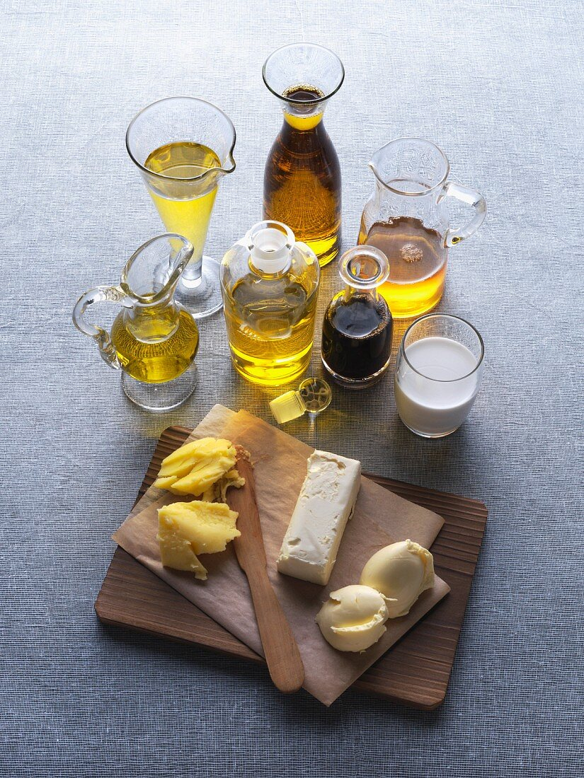 An arrangement of various fats and oils for vegetarians
