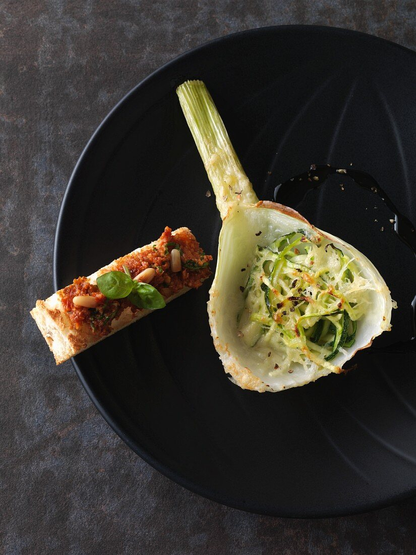 Stuffed, oven-baked fennel