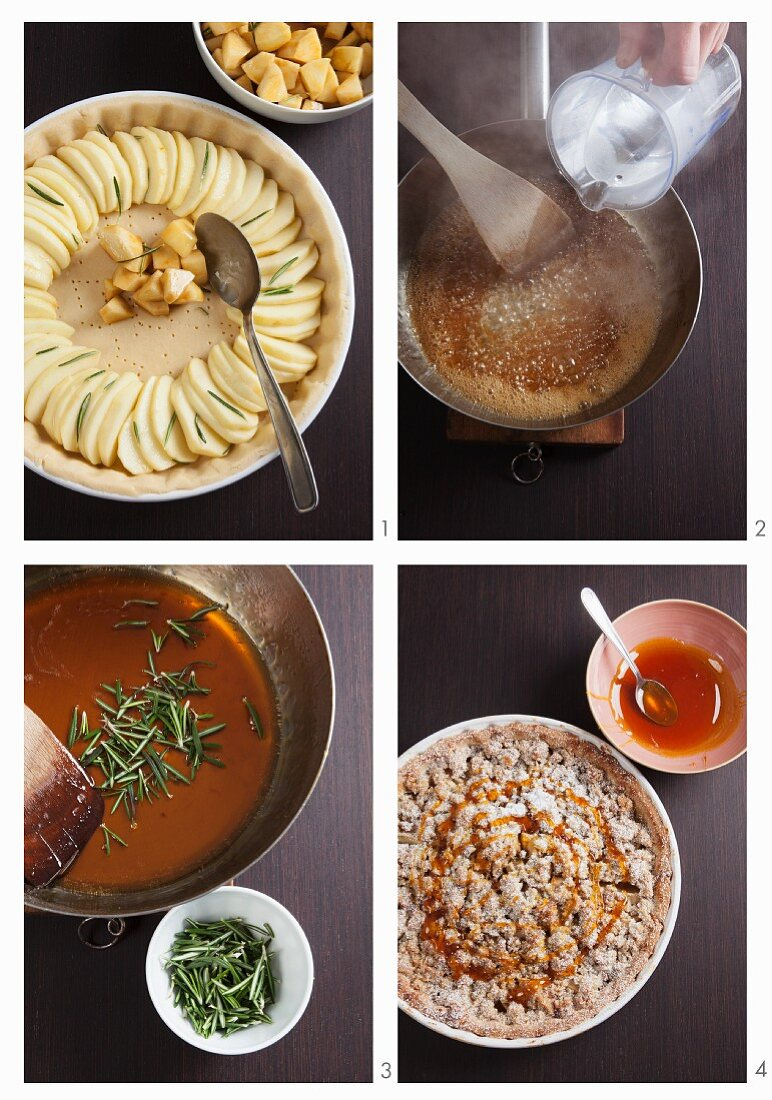 Pear and apple pie with rosemary being made