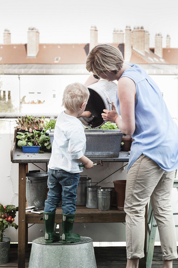 Woman and boy planting up planter on potting bench on roof terrace