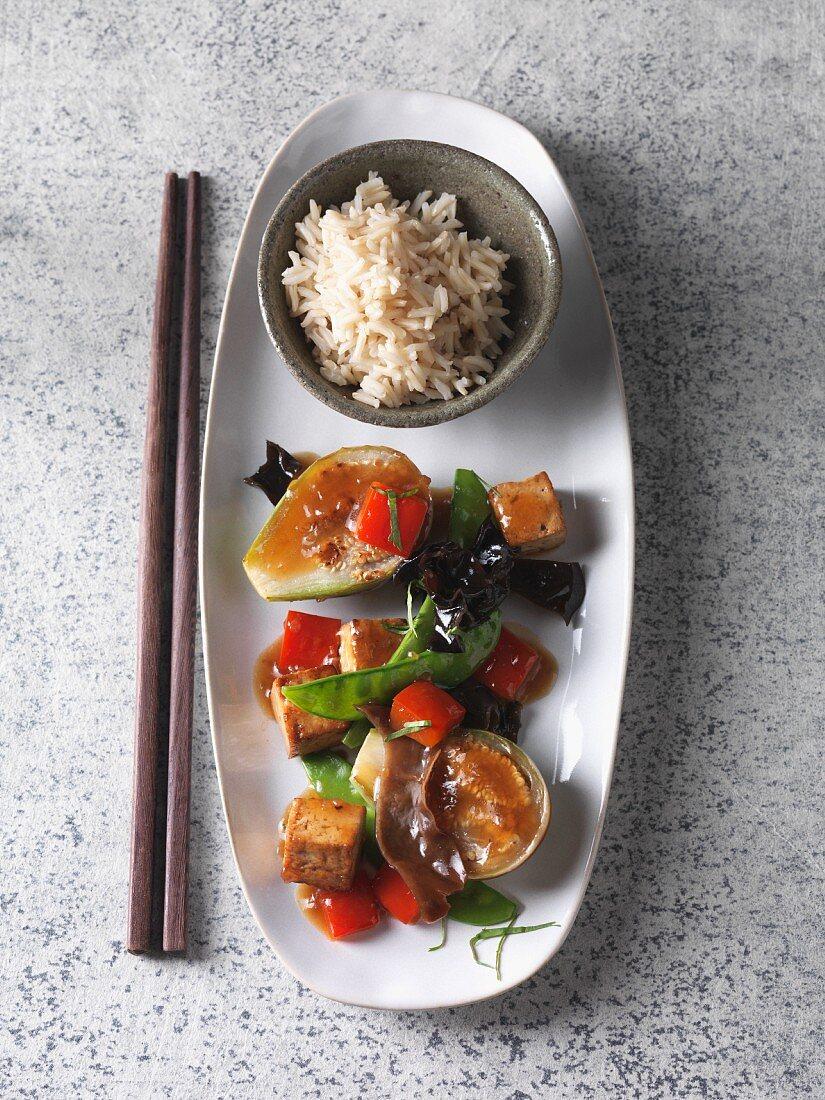 Roasted aubergines with tofu, mu-err mushrooms and oyster sauce