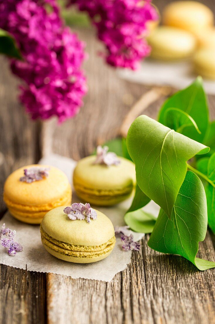 Macaroons with candied lilac