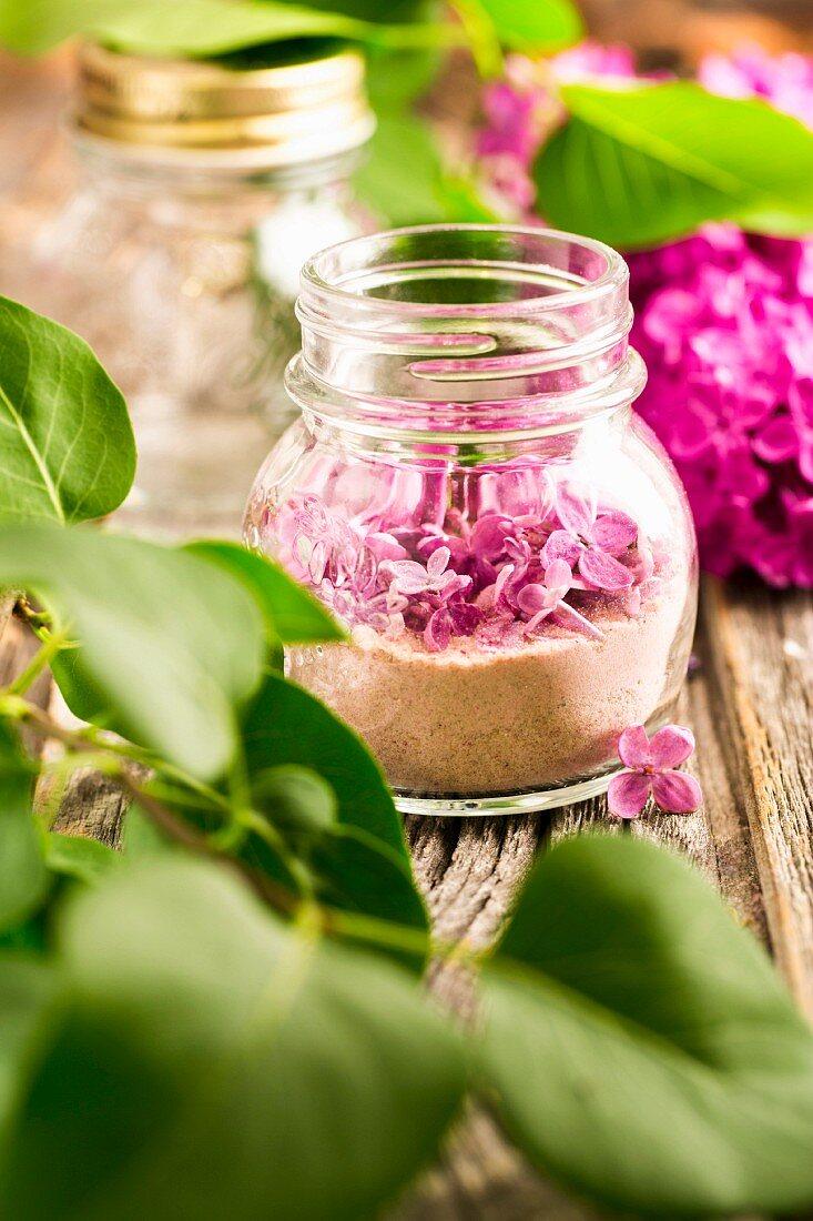 Lilac flower sugar