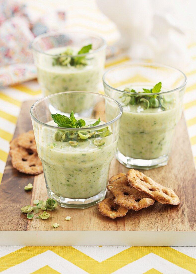 Leek and potato soup with mint