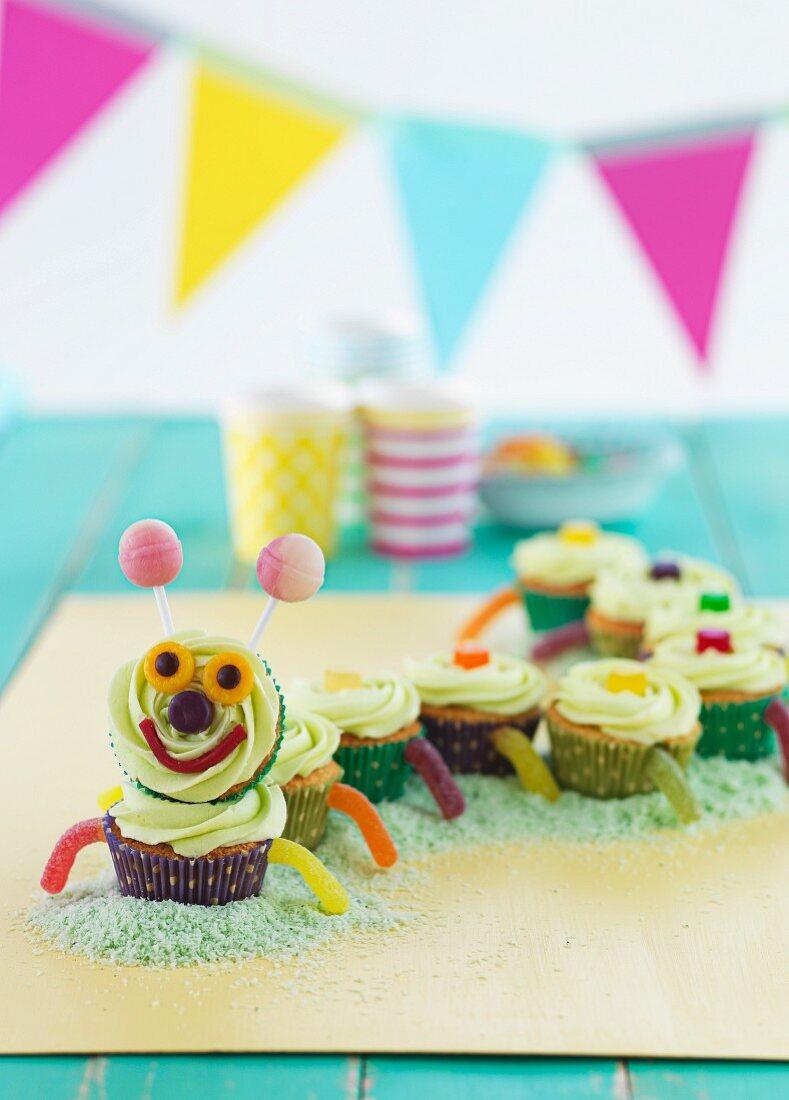 A cupcake caterpillar for a children's party