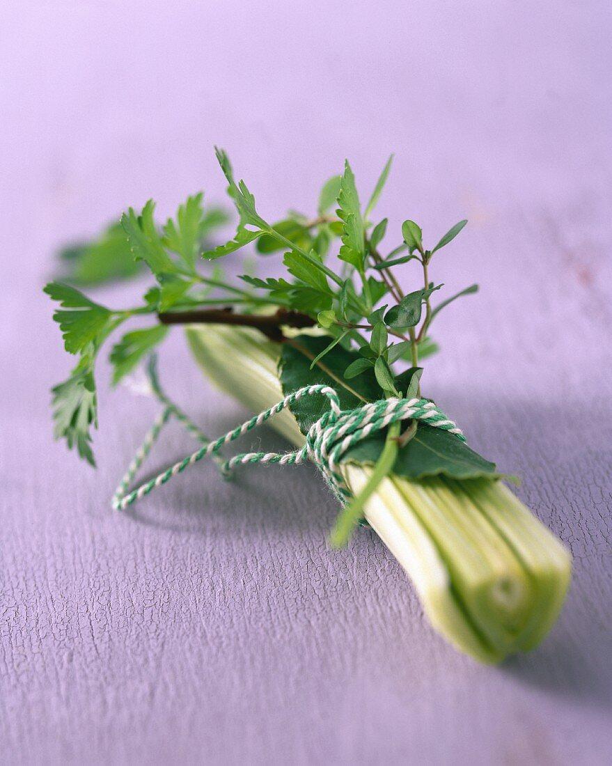 A bouquet garni with leek