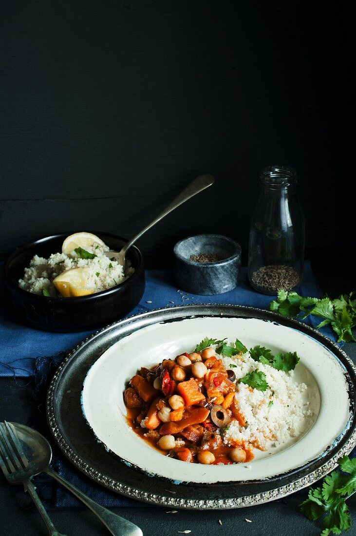 Vegetable tagine with couscous and coriander