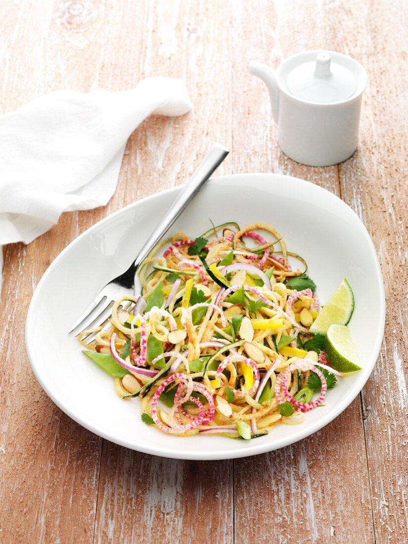 Vegan Pad Thai with cucumber noodles and radish