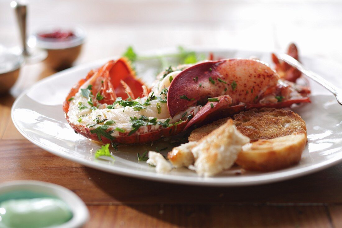 Half a lobster with grilled bread and wasabi mayonnaise