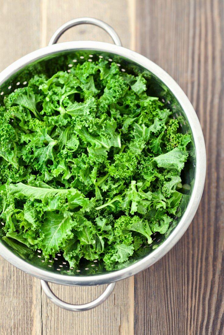 Grünkohl im Küchensieb