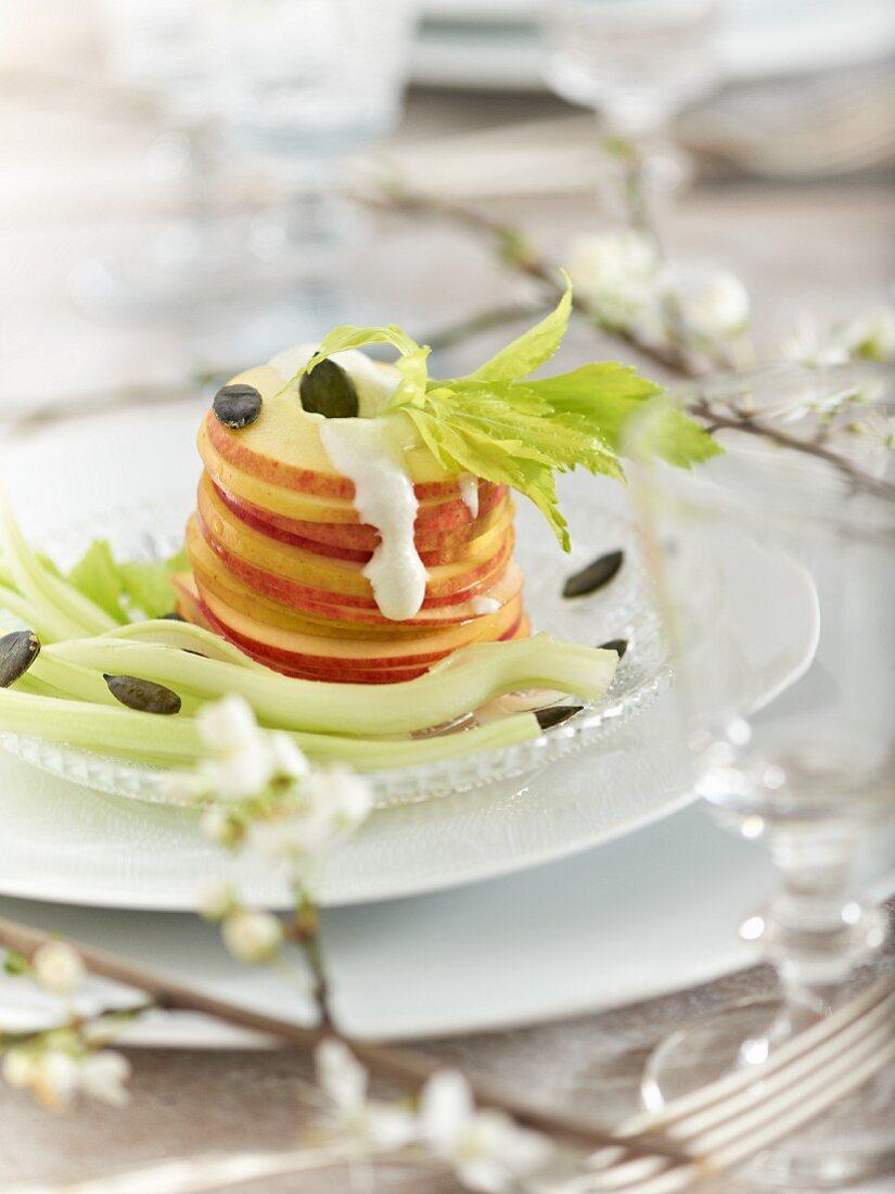 Waldorf salad with Gorgonzola sauce