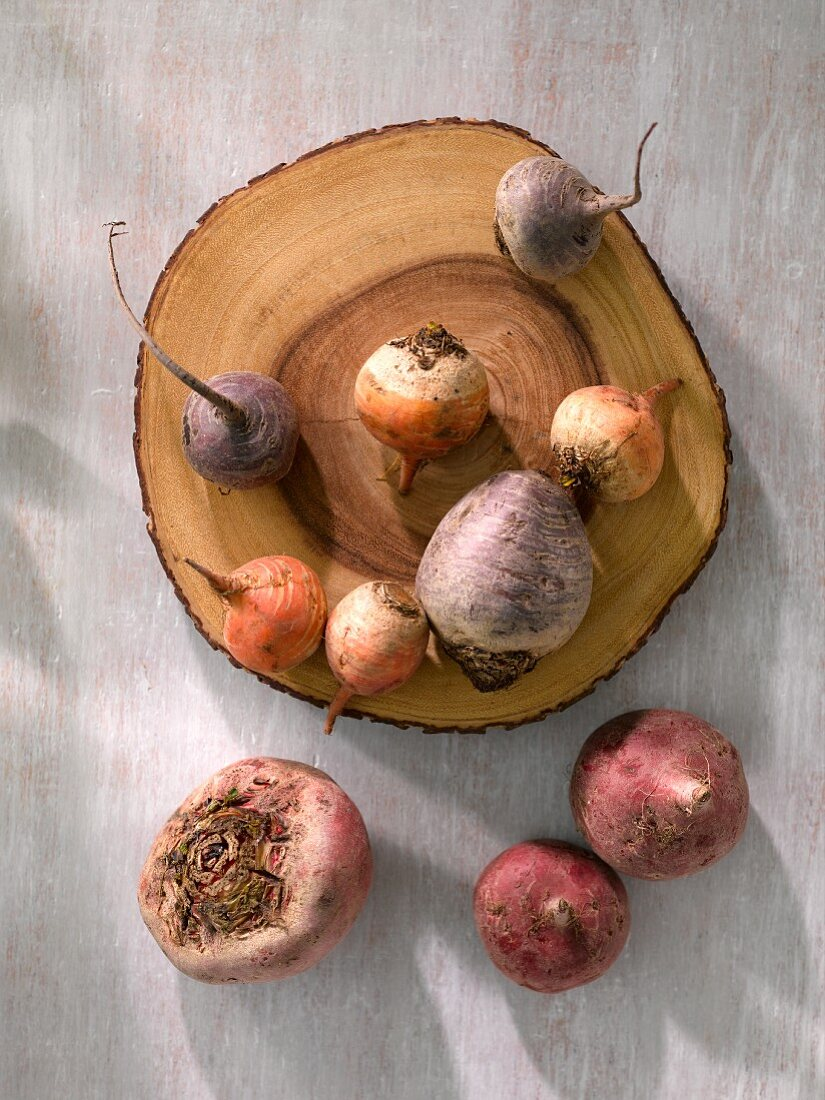 Various types of beets: beetroot, chiogga beet and golden beet