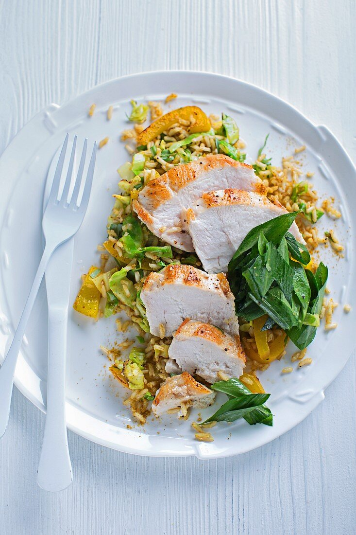 Curried vegetable rice with chicken breast