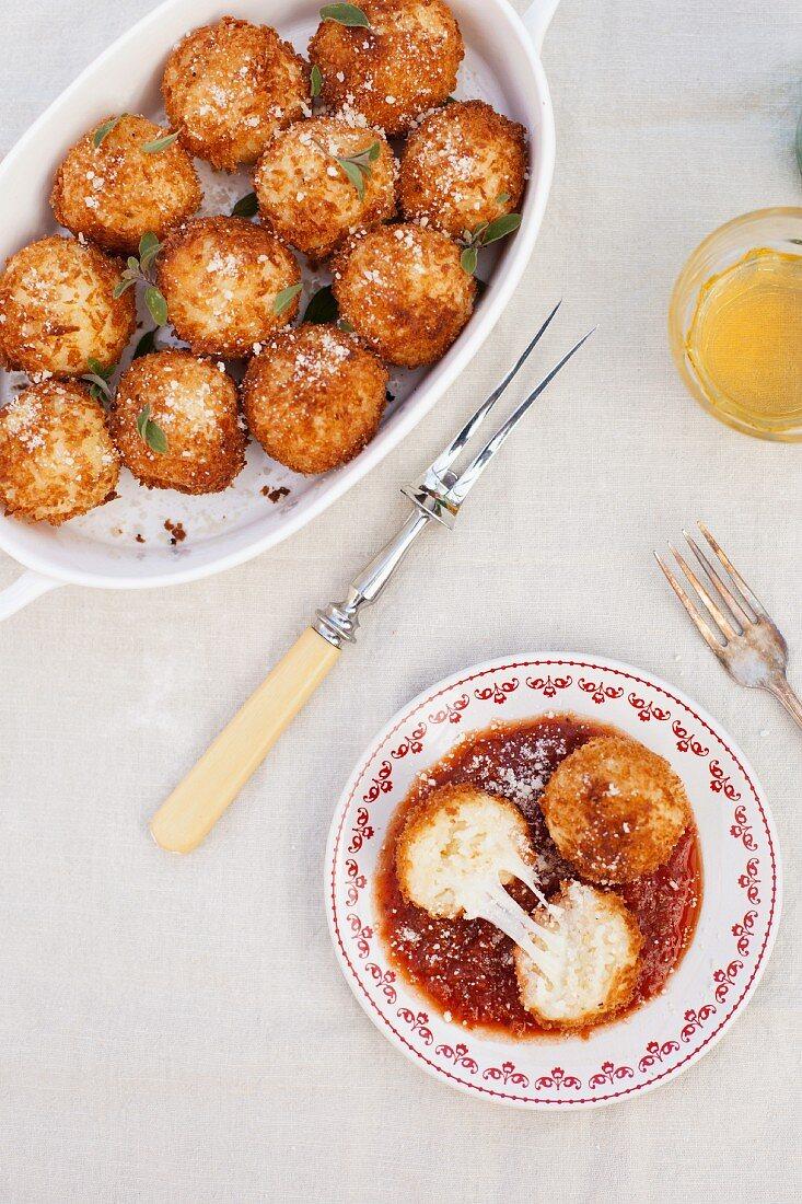 Arancini (fried, stuffed rice balls, Sicily, Italy)