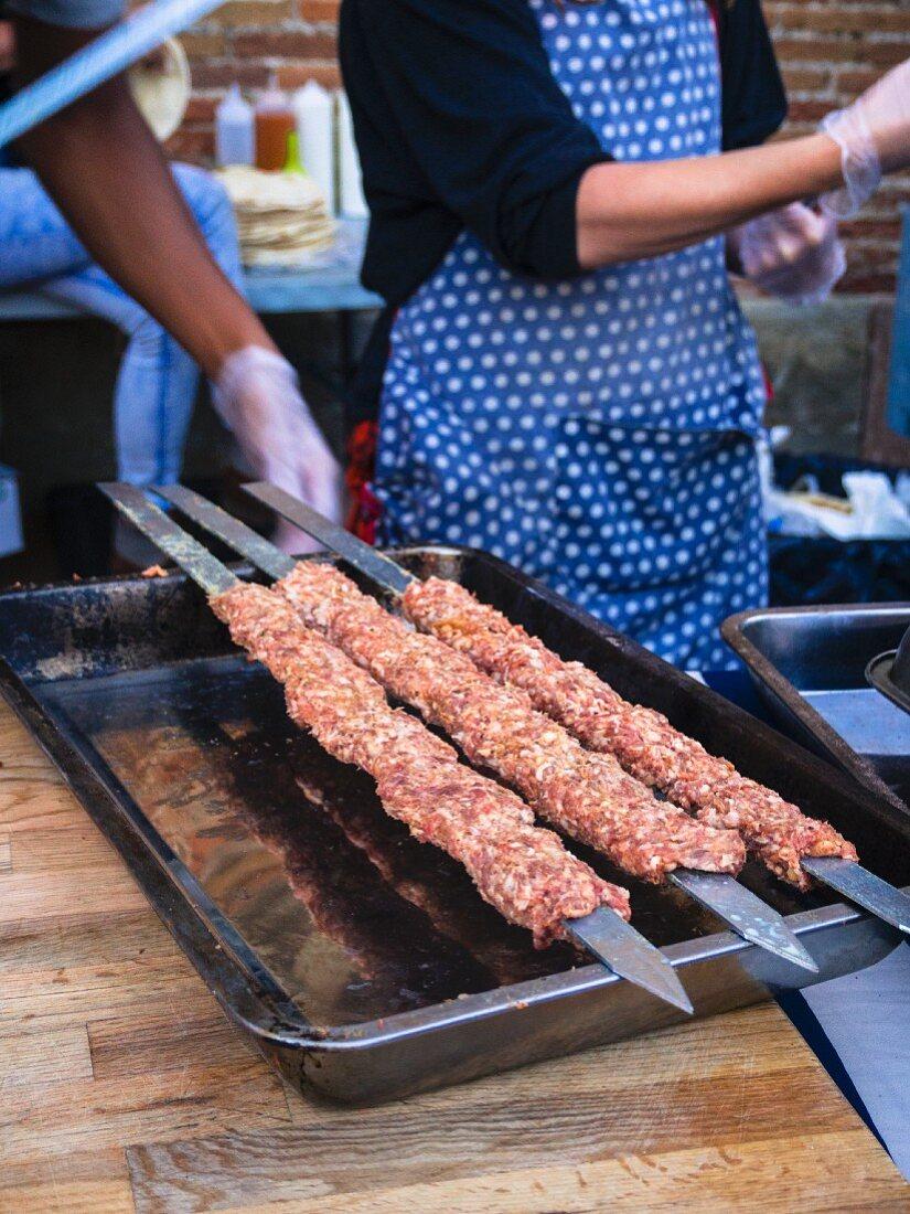 Street food – raw minced meat skewers