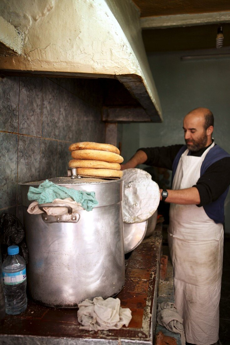 A chef working in a kitchen in Morocco