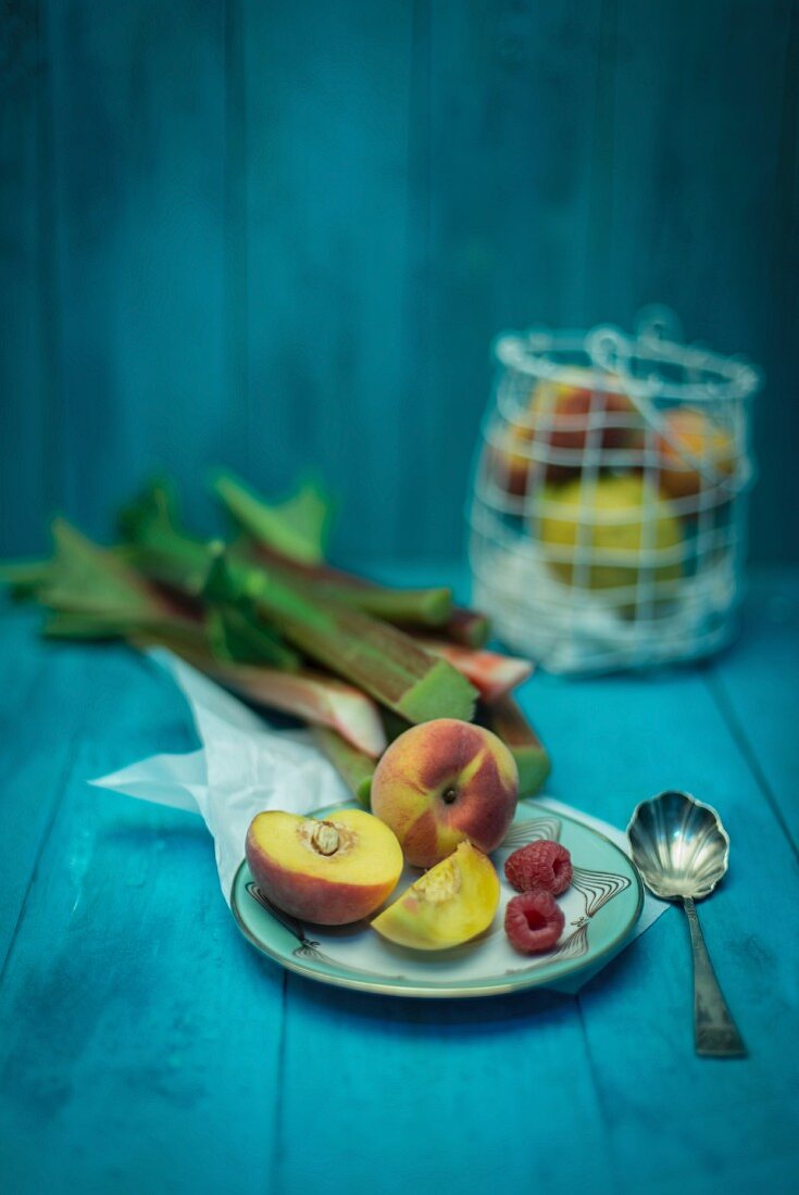 Peaches, raspberries, rhubarb and lemons
