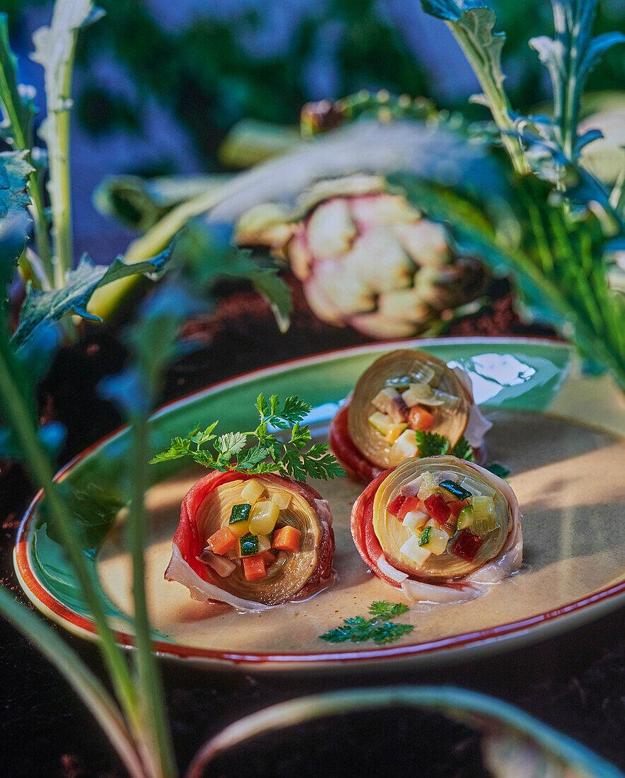 Ham and artichoke soup