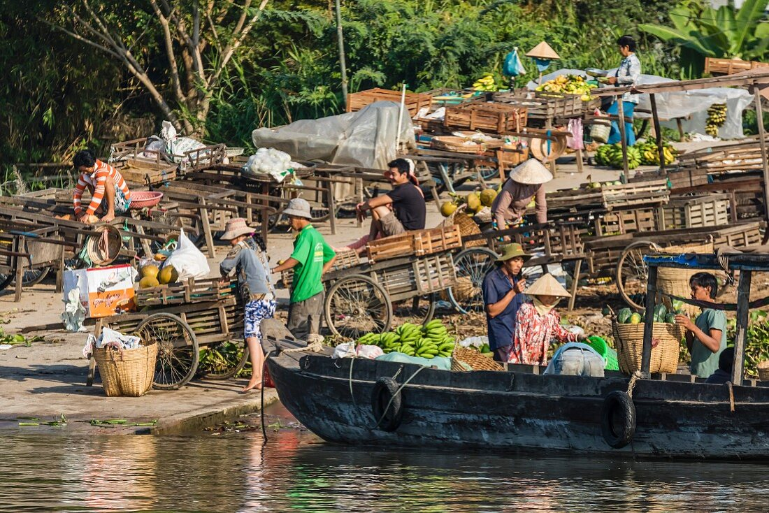 Families selling produce at a floating market in Chau Doc, Mekong River Delta, Vietnam, Indochina