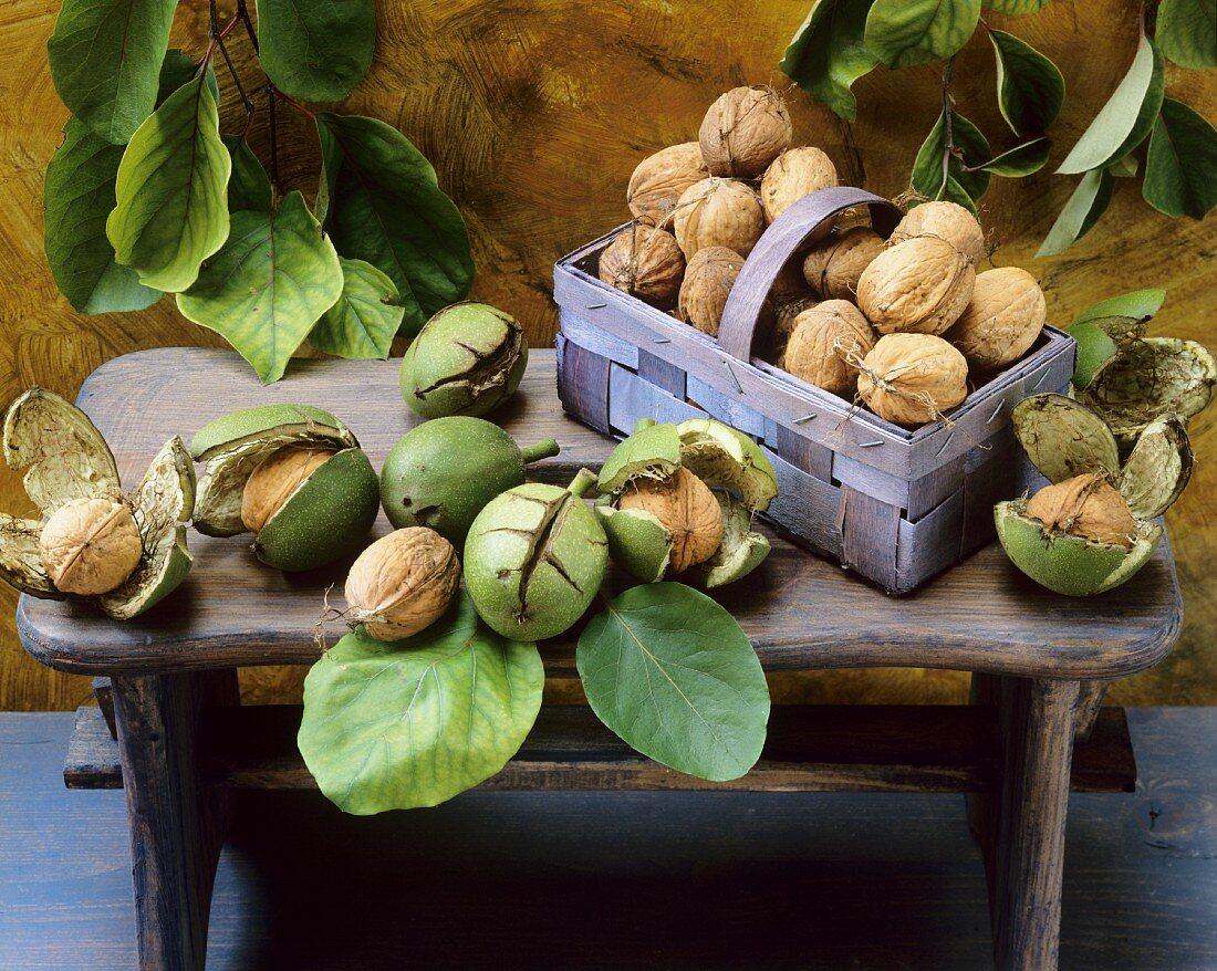 An arrangement of fresh walnuts