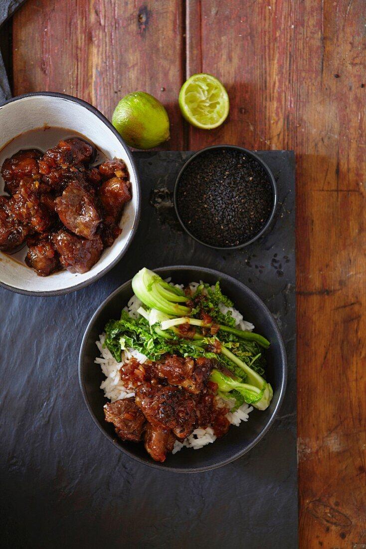 Pork collar with jasmine rice and broccoli (Asia)