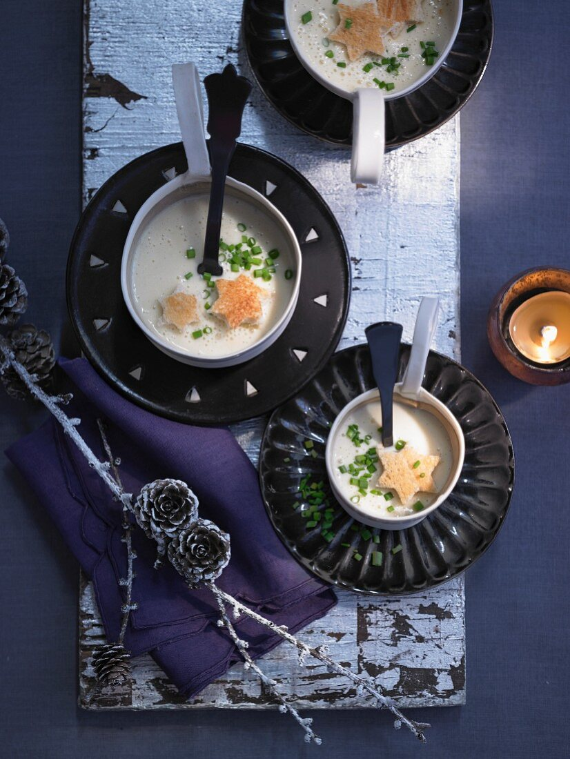 Cheese fondue soup with brioche croutons for Christmas