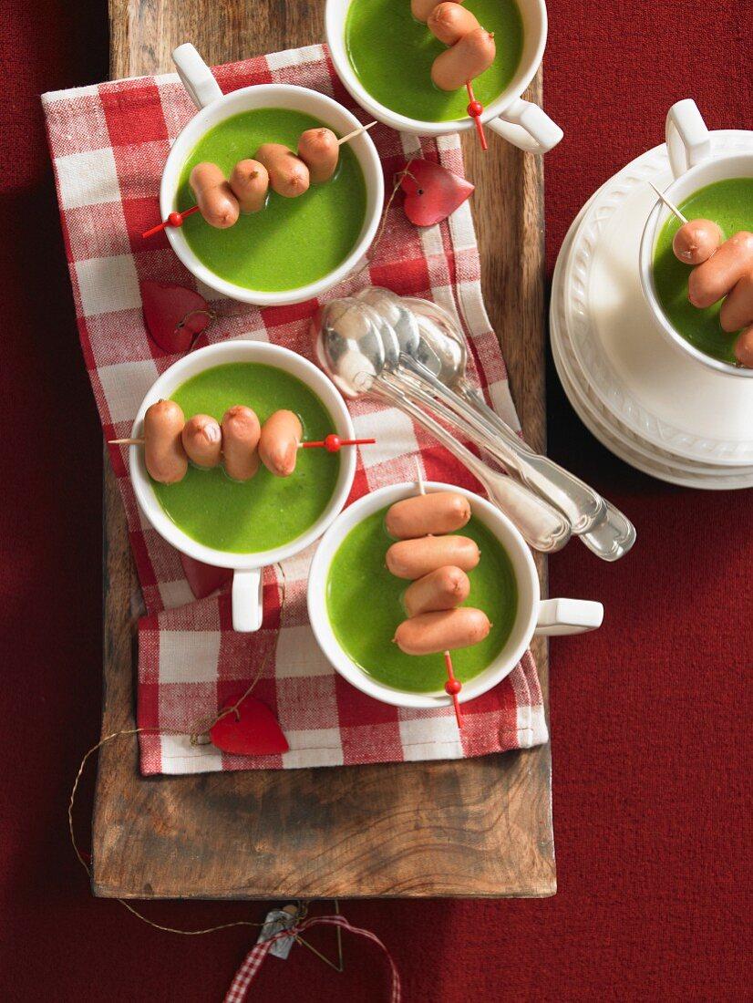Pea and potato soup with sausages (Christmas)