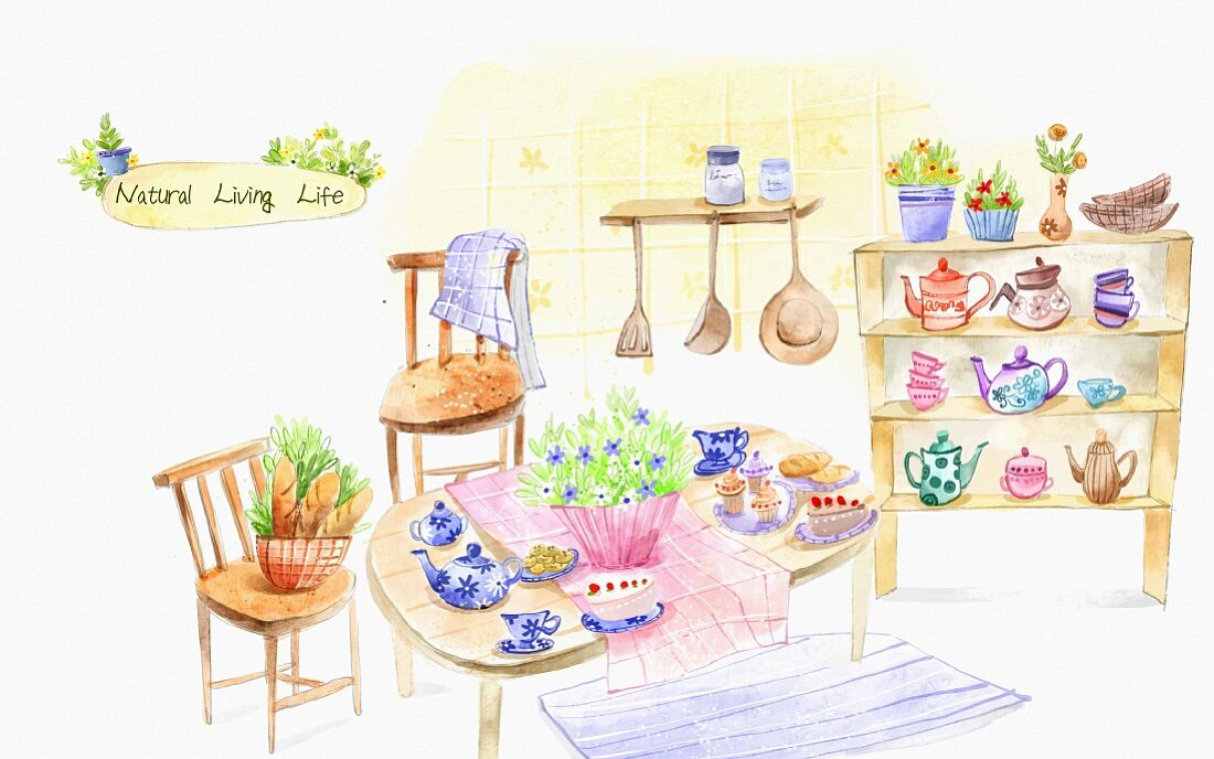 A view of a kitchen with crockery and utensils on a table and on a shelf (illustration)
