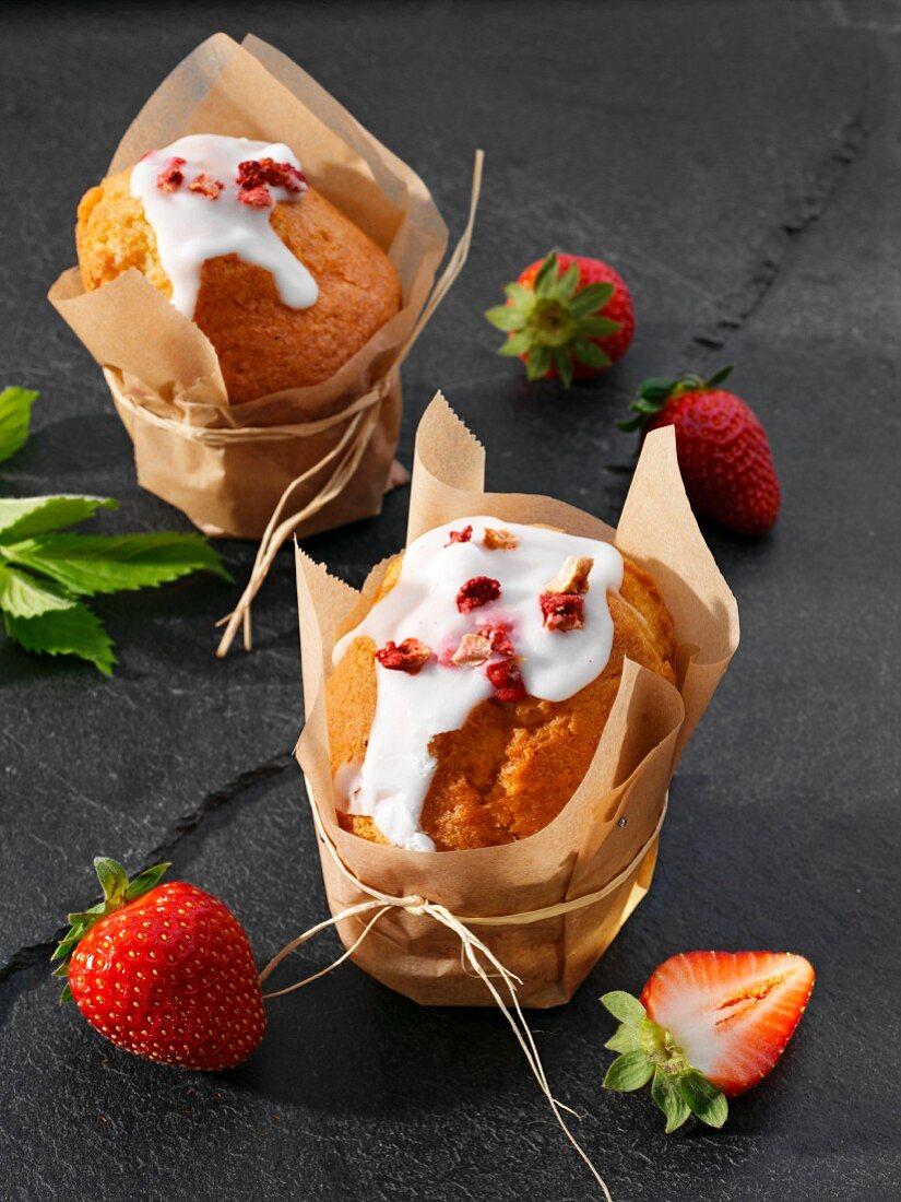 Strawberry muffins with lemon glaze