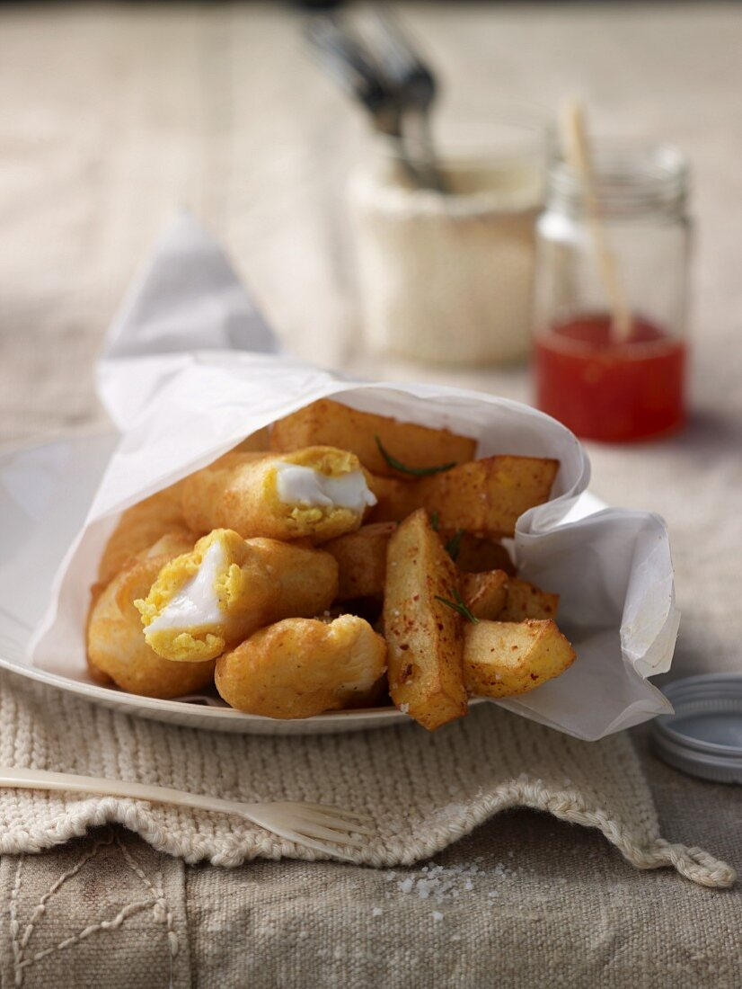 Fish and chips with a spicy sweet-and-sour lemon sauce