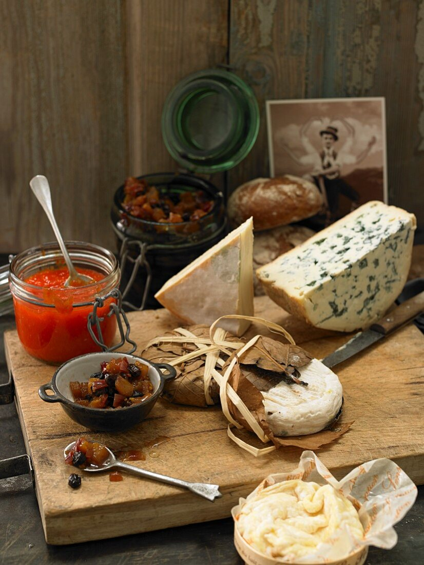 Various types of mountain cheese with pepper jam and nashi pear chutney