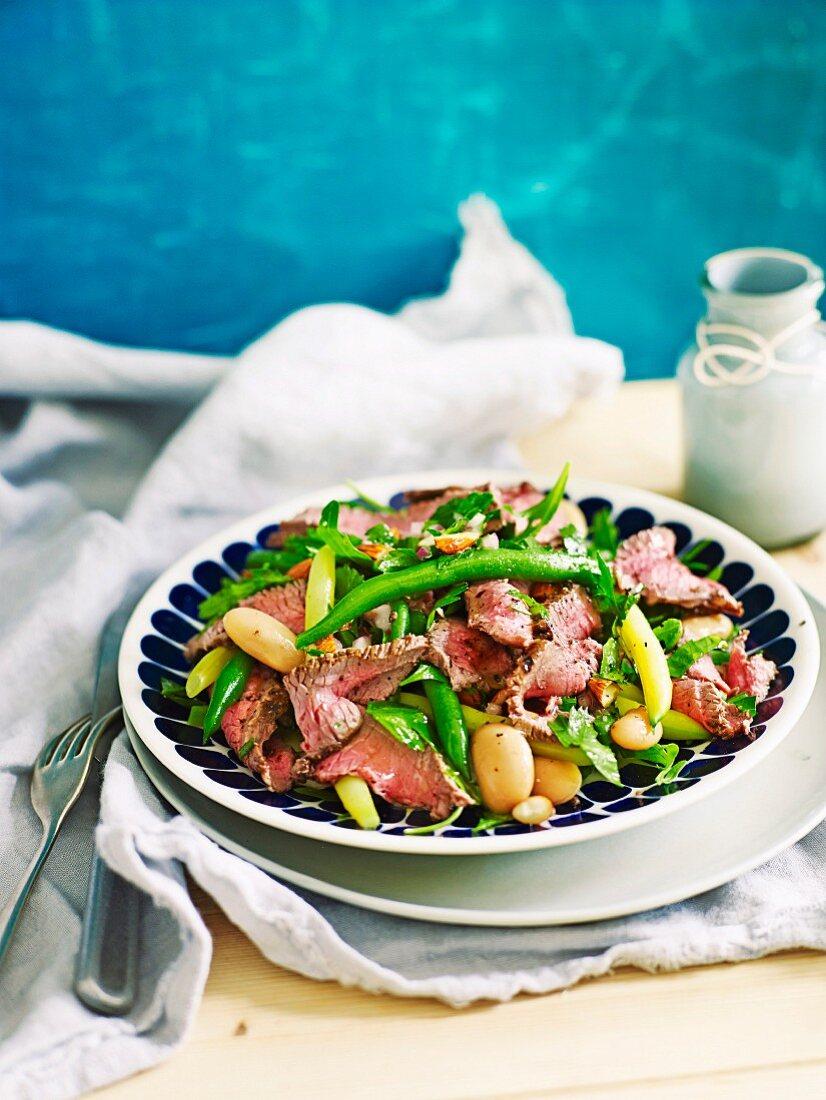 Lamb and three bean salad