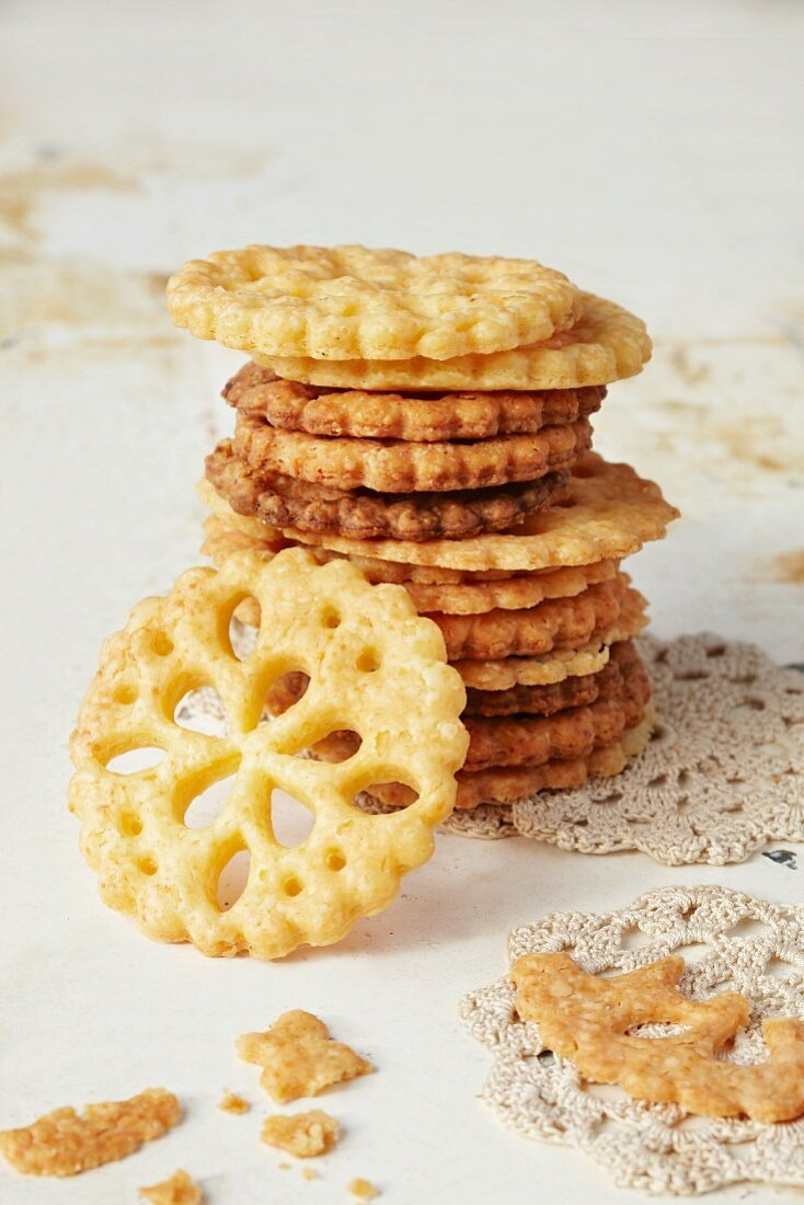 A stack of lattice biscuits