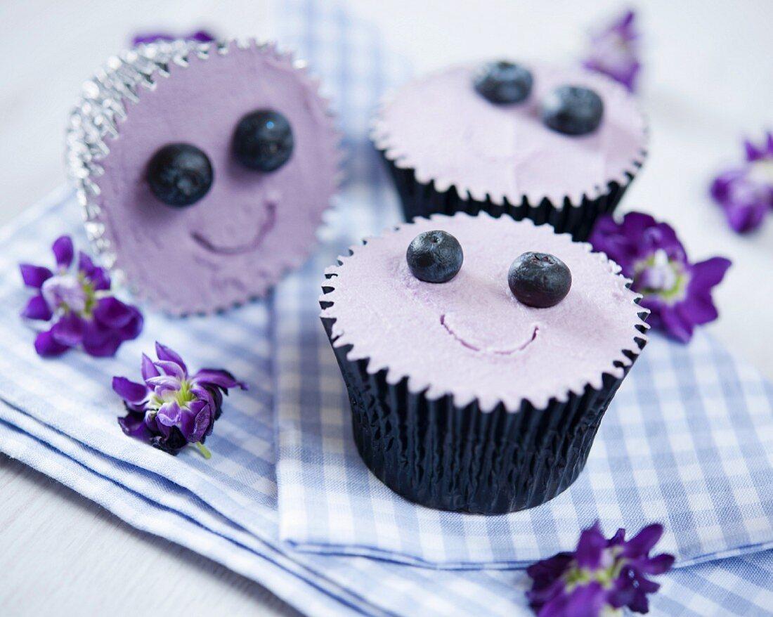 Blueberry smiley cupcakes