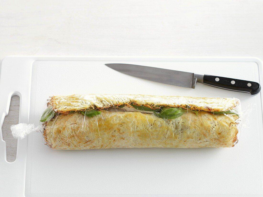 Vegetable pancake rolls being made