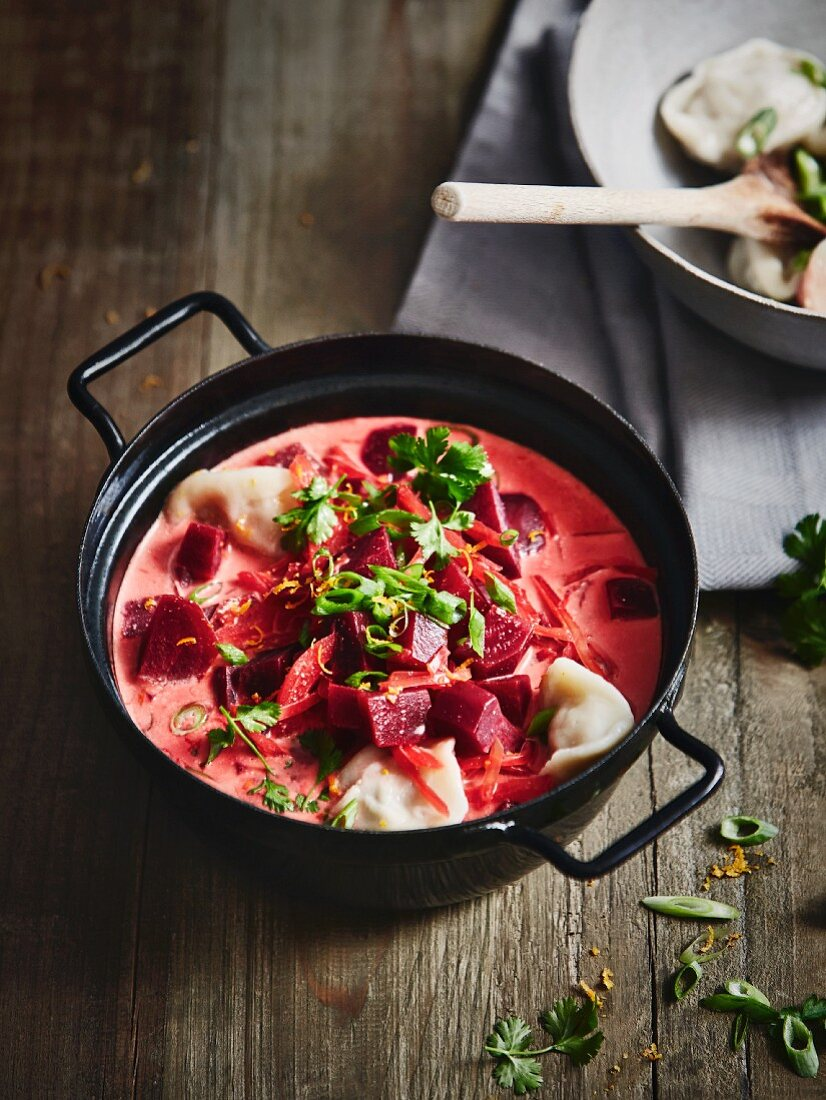 Beetroot soup with coconut milk