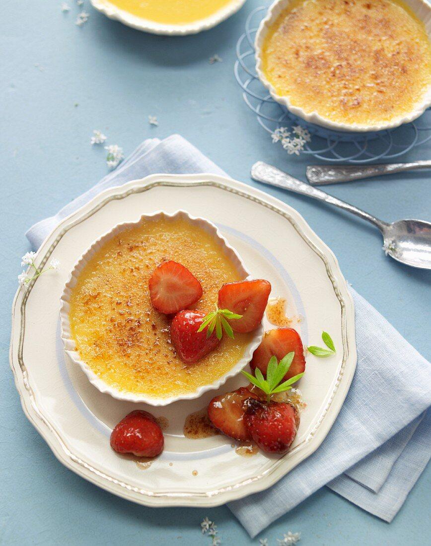 Woodruff crème brûlée with roasted strawberries