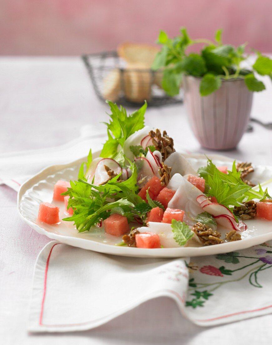 Radish salad with watermelon and lemon balm