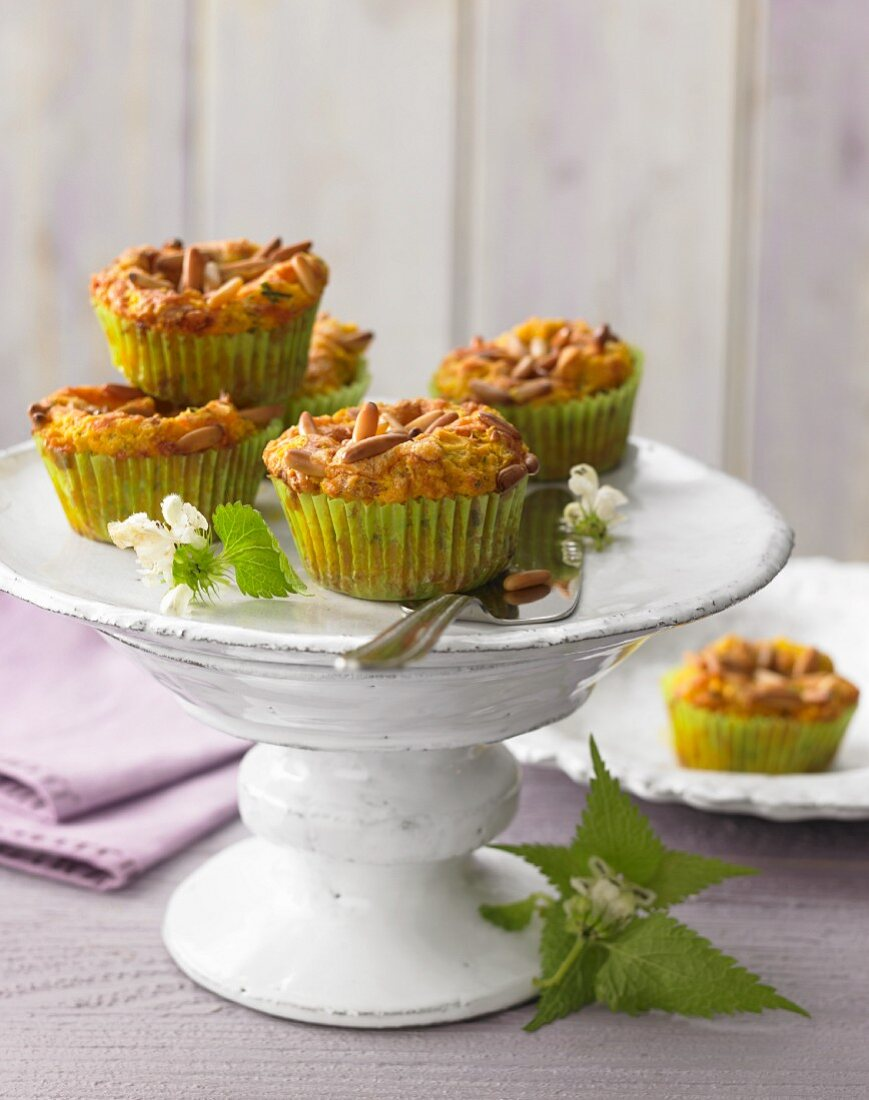Wild herb muffins with cheddar cheese and pine nuts