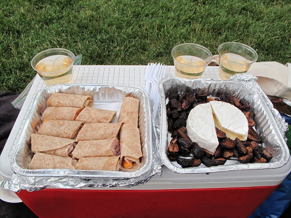 A picnic with wraps, dates, cheese and wine