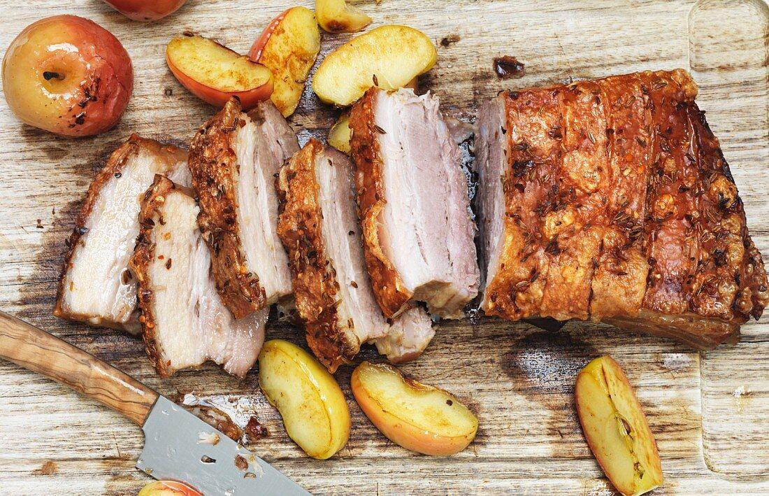 Crispy pork belly with baked apples