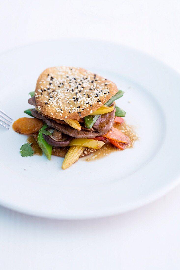 Rindfleisch auf Gemüse japanische Art