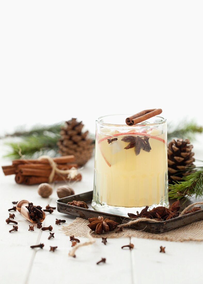 A hot apple drink with winter spices