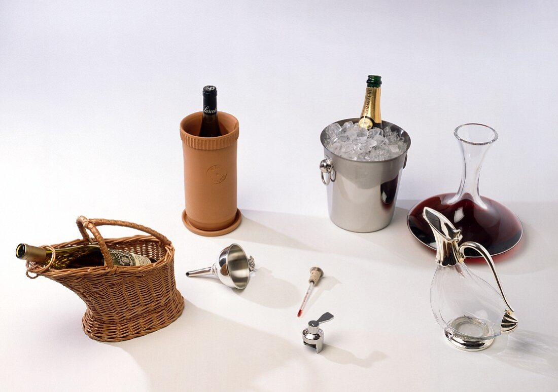 Accessories for serving fine wine correctly