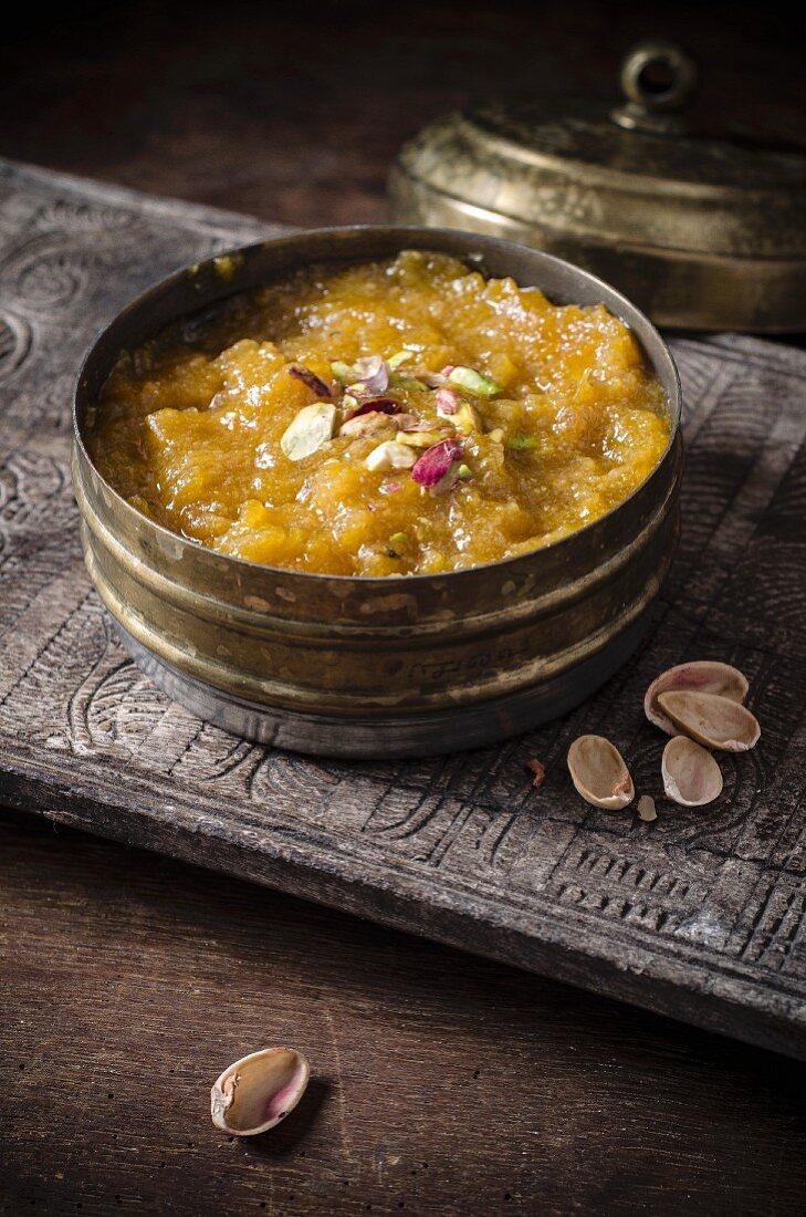 Qubani Meetha (dried apricot dessert, India)