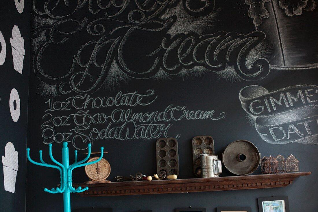 A decorative black wall in a vegan bakery