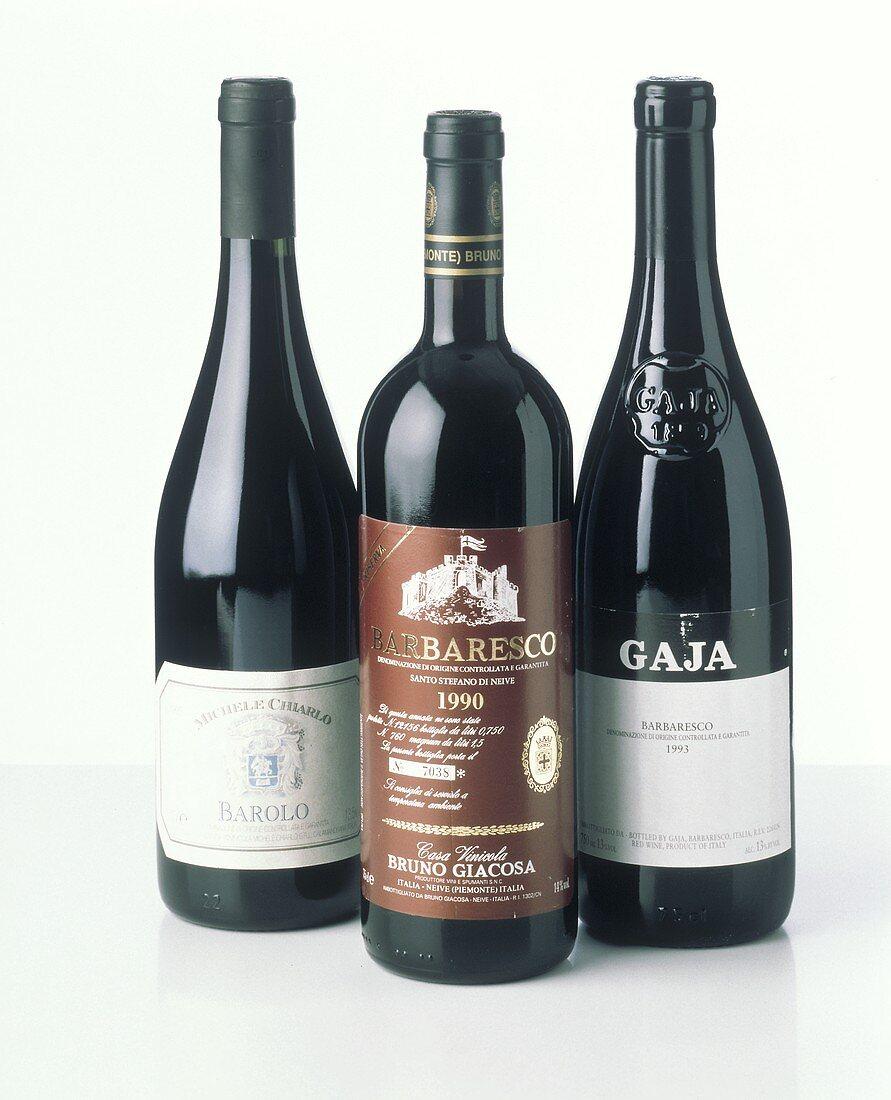 Wines from Piedmont: Barolo beside two Barbaresco bottles
